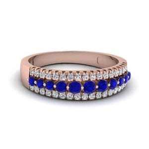 Triple Row Sapphire Wedding Band