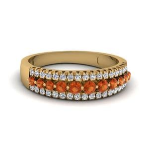 Three Row Orange Sapphire Band
