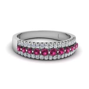 Wide Pink Sapphire Band For Women
