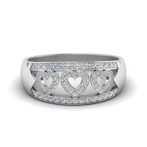 Wave Pave Heart Design Diamond Band