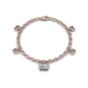 14K Rose Gold Women Diamond Bracelet
