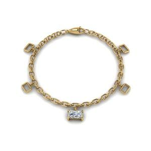 Women Diamond Charm Bracelet In 14K Yellow Gold