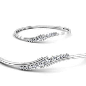 Women Twist Diamond Thin Bracelet Bangle In 14K White Gold