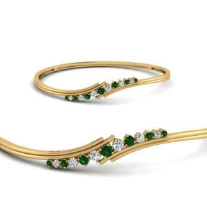 Women Twist Diamond Thin Bracelet Bangle With Emerald In 14K Yellow Gold