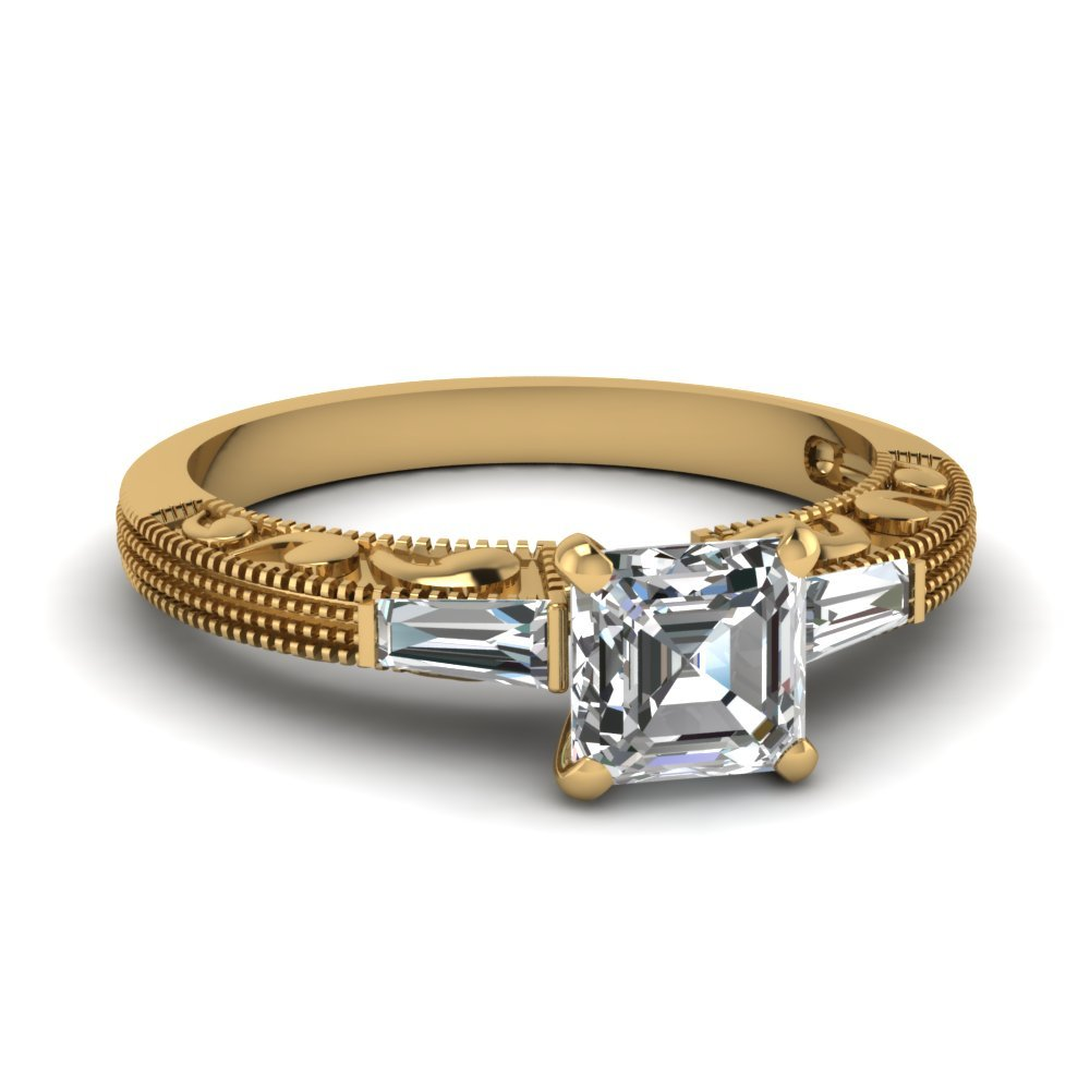 Antique Engraved 3 Stone Asscher Cut Engagement Ring In 14K Yellow Gold
