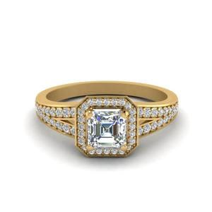 Pave Asscher Halo Diamond Engagement Ring In 18K Yellow Gold