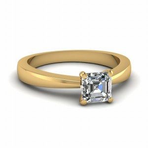 Gold Asscher Cut Diamond Ring