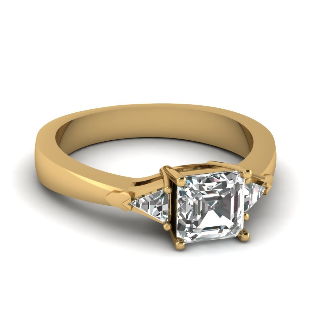 Trillion Tapered 3 Stone Engagement  Ring