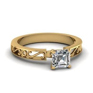 Filigree Asscher Cut Single Stone Engagement Ring In 14K Yellow Gold