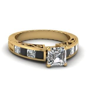 Vintage Channel Set Asscher Engagement Ring With Black Diamond In 14K Yellow Gold