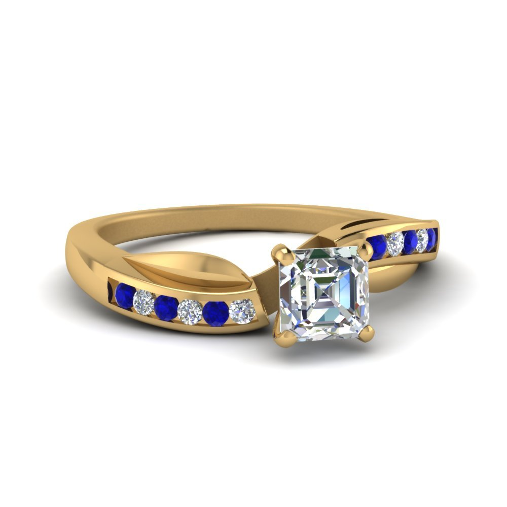 Petal Channel Set Asscher Diamond Engagement Ring With Sapphire In 14K Yellow Gold