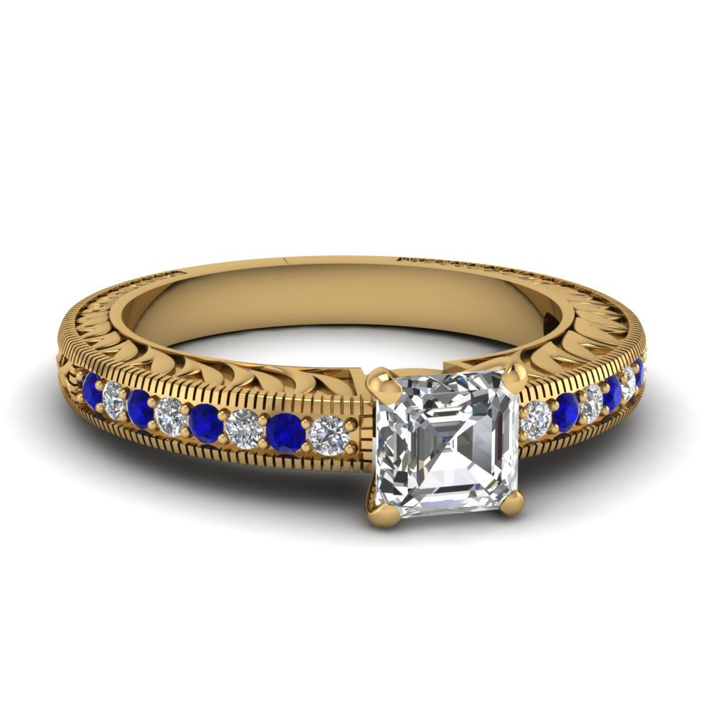 Hand Engraved Asscher Cut Vintage Engagement Ring With Sapphire In 14K Yellow Gold