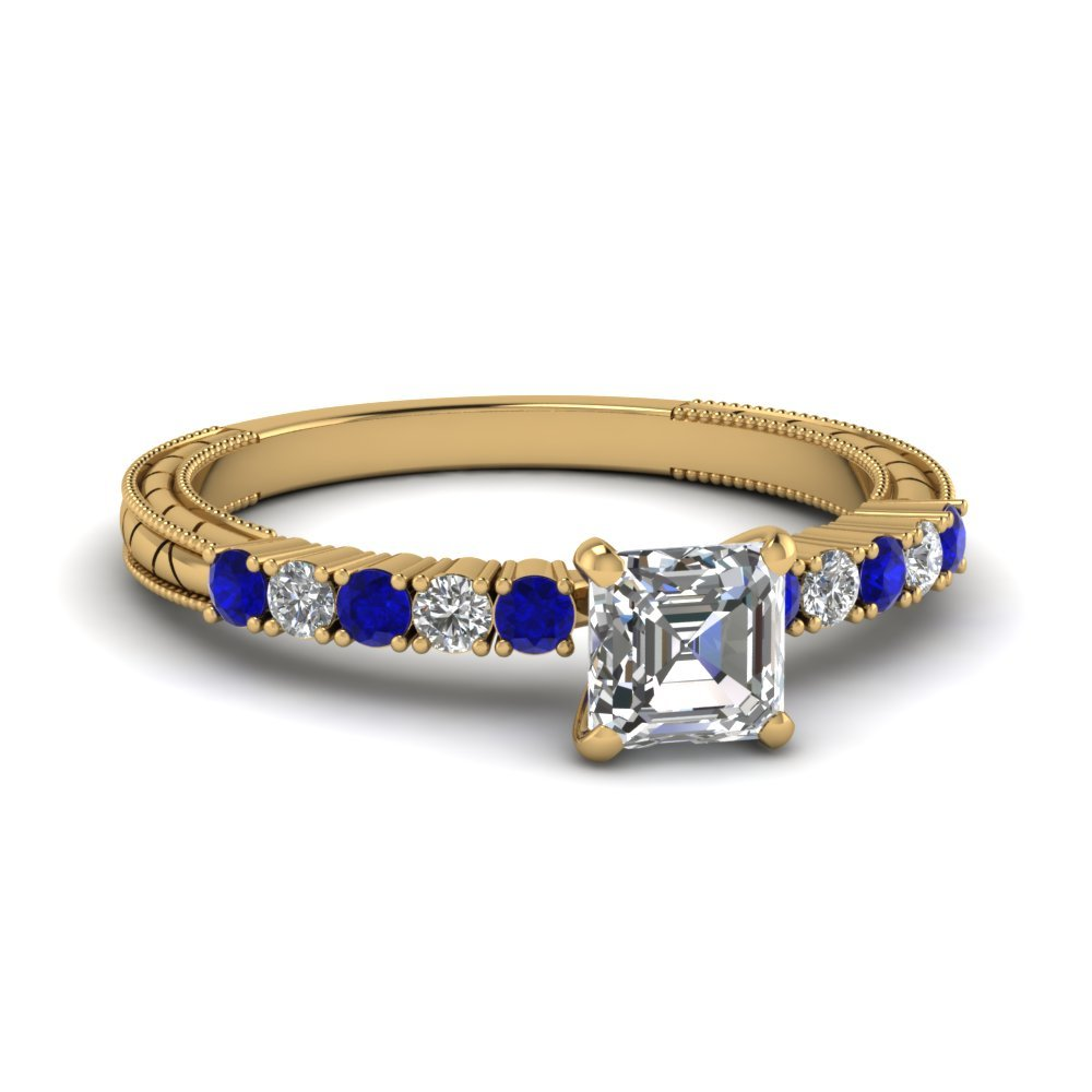 Petite Vintage Asscher Diamond Engagement Ring With Sapphire In 14K Yellow Gold