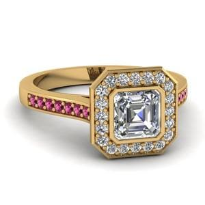 Pave Halo Asscher Diamond Ring