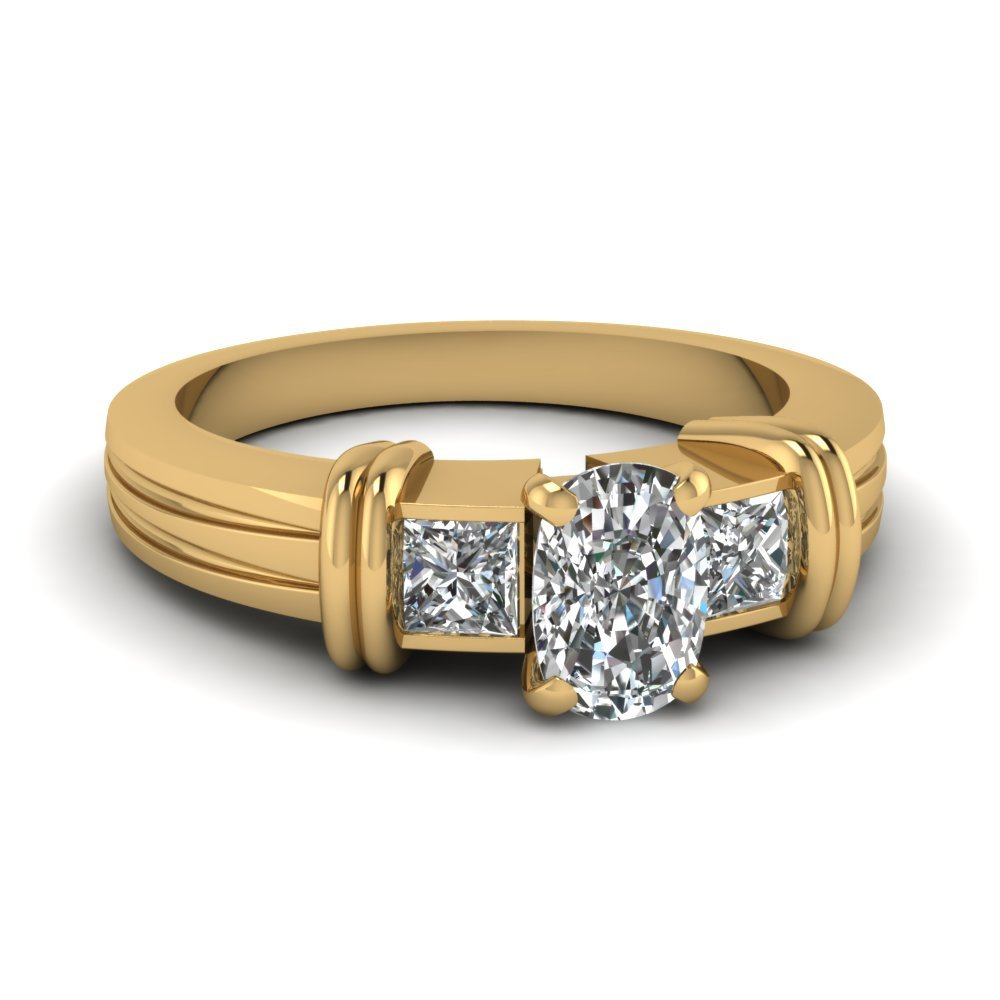 Bar 3 Stone Cushion Cut Engagement Ring In 14K Yellow Gold
