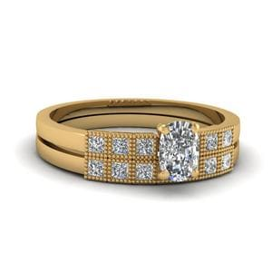 Milgrain Petite Cushion Diamond Wedding Ring Set In 14K Yellow Gold