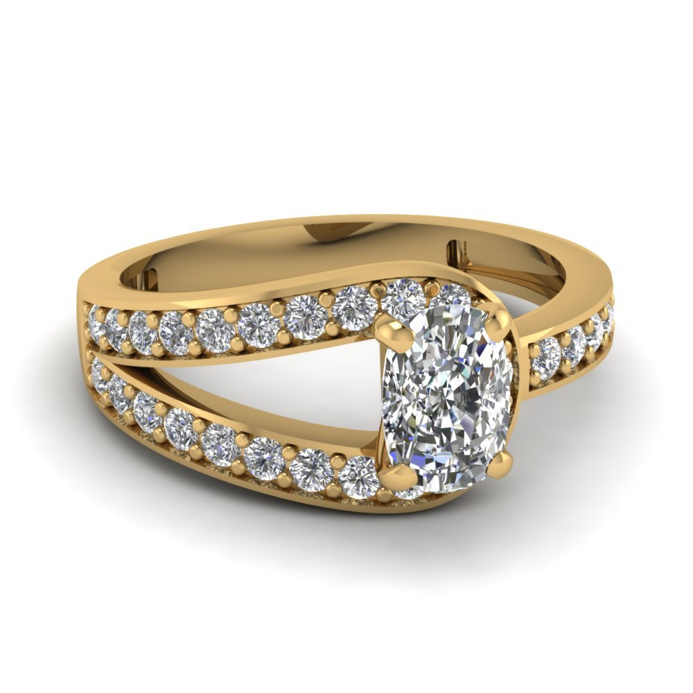 Cushion Cut Loop Pave Diamond Engagement Ring In 14K Yellow Gold