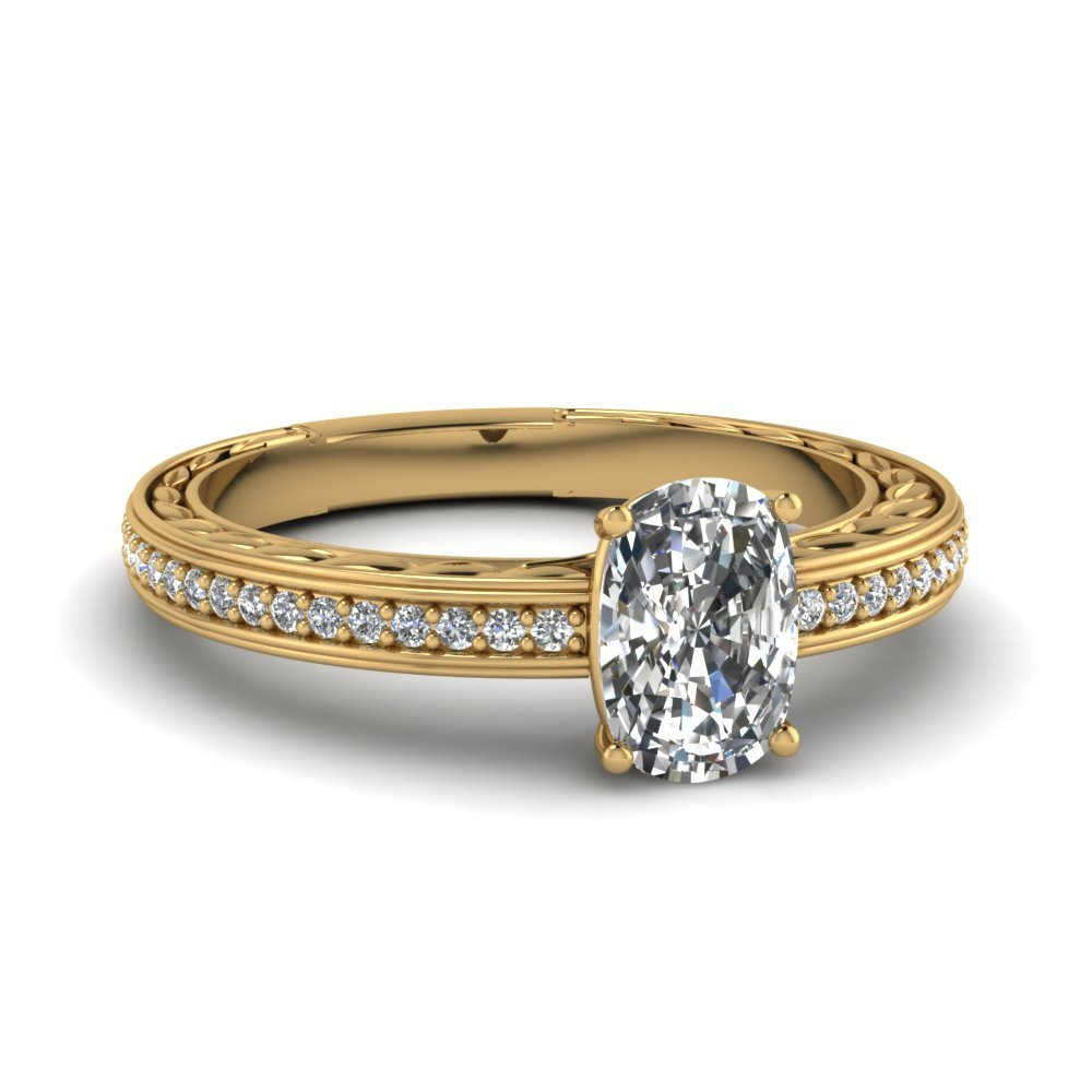 Low Set Vintage Engraved Cushion Diamond Engagement Ring In 14K Yellow Gold