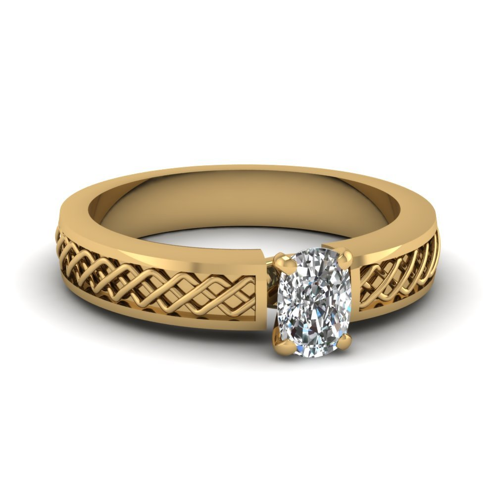 Criss Cross Cushion Cut Solitaire Engagement Ring In 14K Yellow Gold