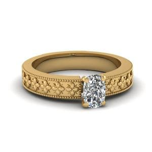Floral Engraved Cushion Cut Solitaire Engagement Ring In 14K Yellow Gold
