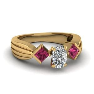 Half Bezel 3 Stone Cushion Cut Engagement Ring With Pink Sapphire In 14K Yellow Gold