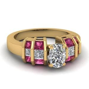 Bar Set Ring with Pink Sapphire