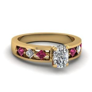 Kite Setting Cushion Cut Diamond Engagement Ring With Pink Sapphire In 14K Yellow Gold