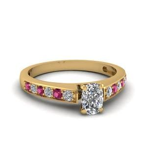 Delicate Gold Cushion Diamond Ring
