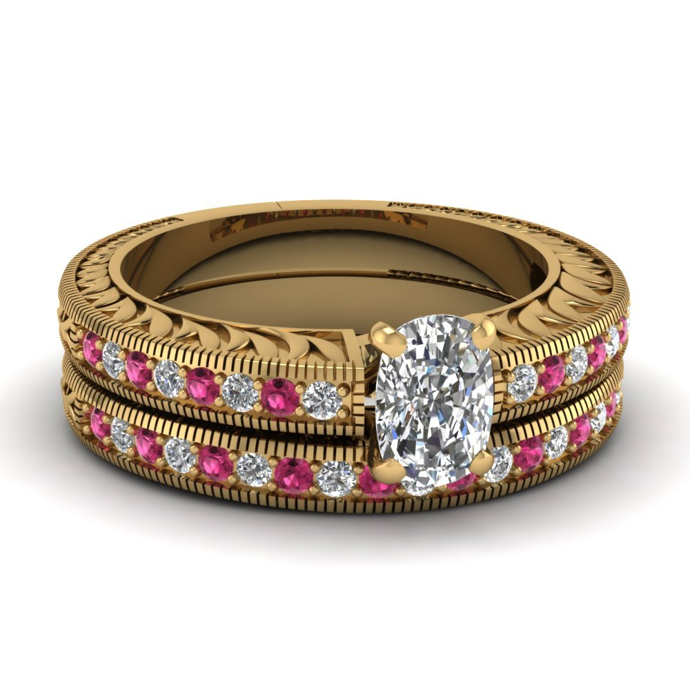 Hand Engraved Cushion Cut Vintage Wedding Ring Set With Pink Sapphire In 14K Yellow Gold