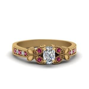 Vintage Butterfly Cushion Diamond Engagement Ring With Pink Sapphire In 14K Yellow Gold