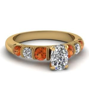Yellow Gold Cushion Cut Ring