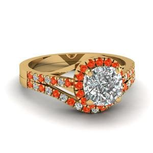 Orange Topaz Engagement Ring Set