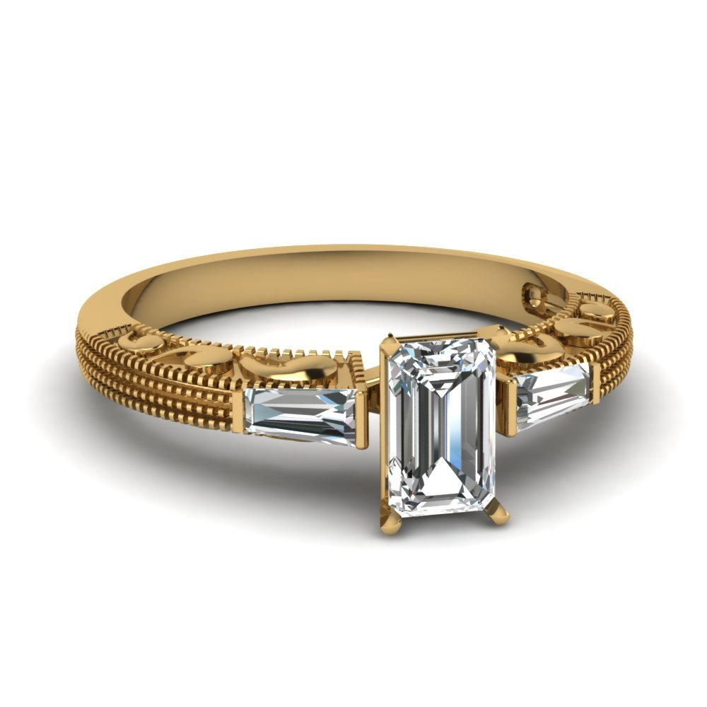 Antique Engraved 3 Stone Emerald Cut Engagement Ring In 14K Yellow Gold