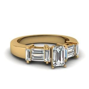 Straight Baguette Emerald Cut Ring