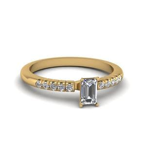 Emerald Cut French Pave Gold Ring