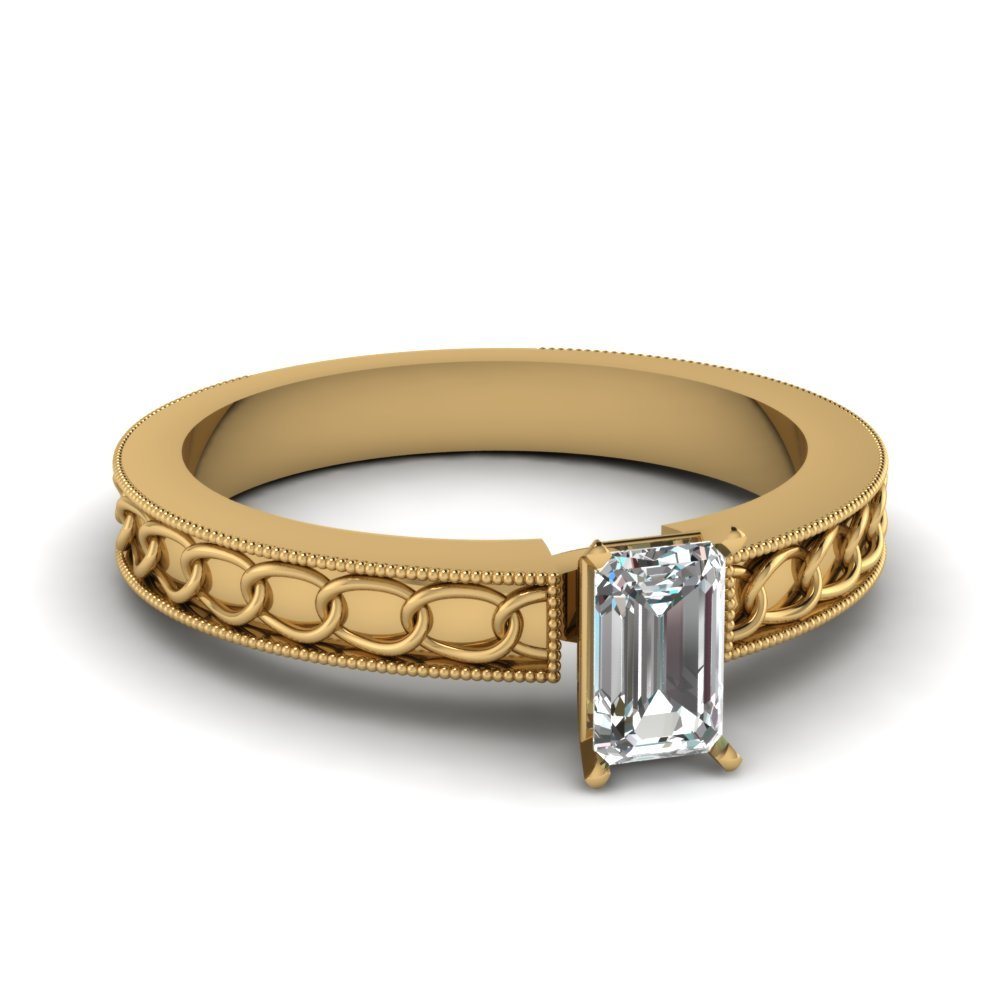 Interlocked Design Emerald Cut Solitaire Engagement Ring In 14K Yellow Gold