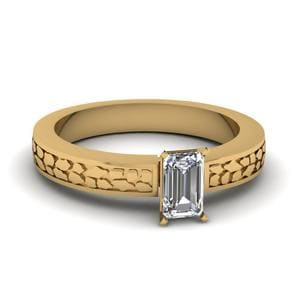 Emerald Cut Carved Solitaire Engagement Ring In 14K Yellow Gold