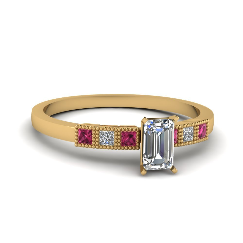 Milgrain Petite Emerald Cut Diamond Engagement Ring With Pink Sapphire In 14K Yellow Gold
