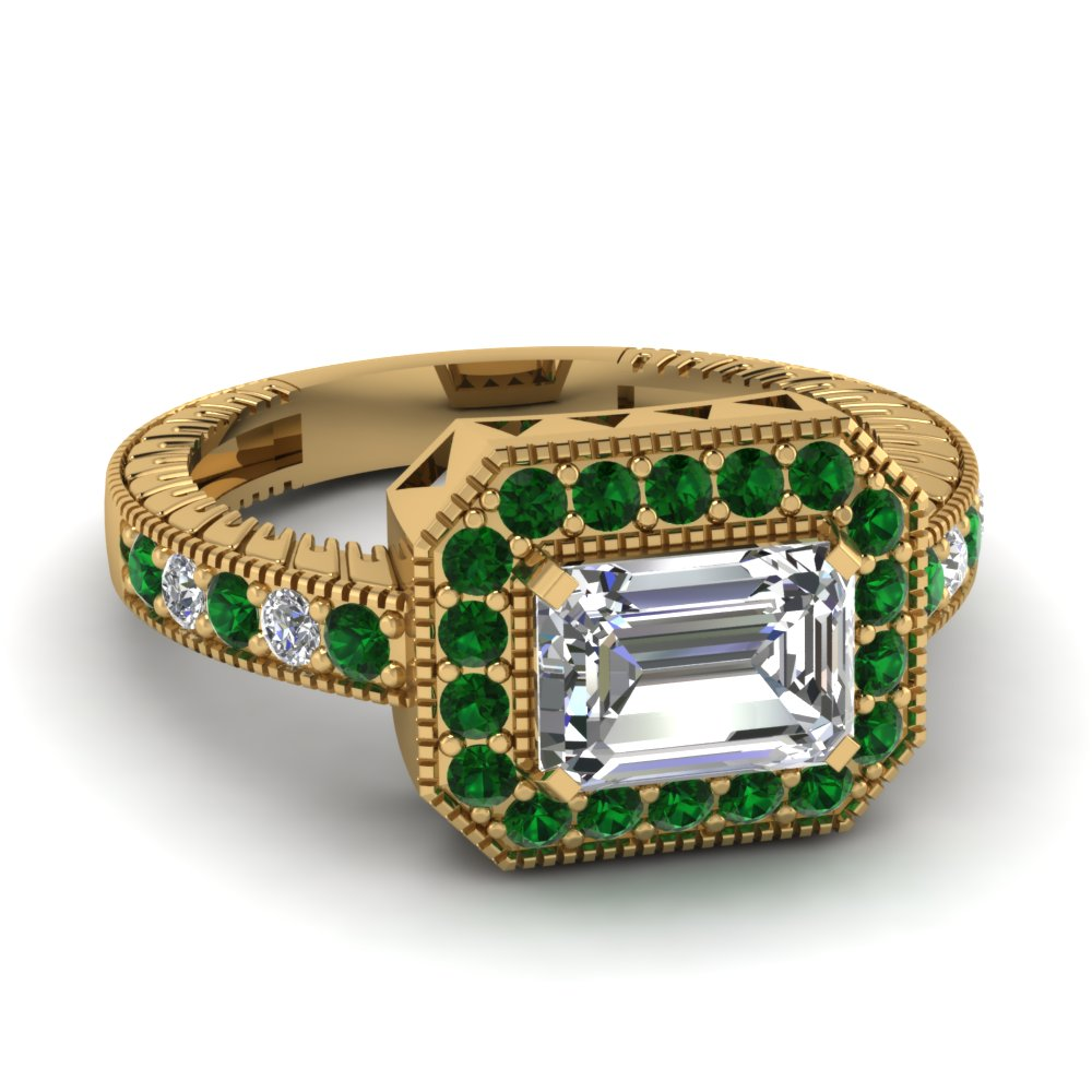 Antique Pave Emerald Halo Art Deco Ring