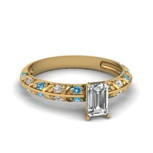 Pave Knife Edge Topaz Ring