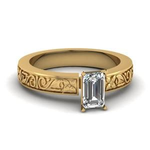 Yellow Gold Emerald Cut Ring