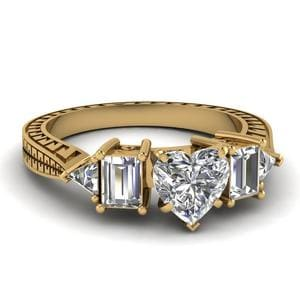Engraved Trillion Heart Diamond Engagement Ring In 14K Yellow Gold