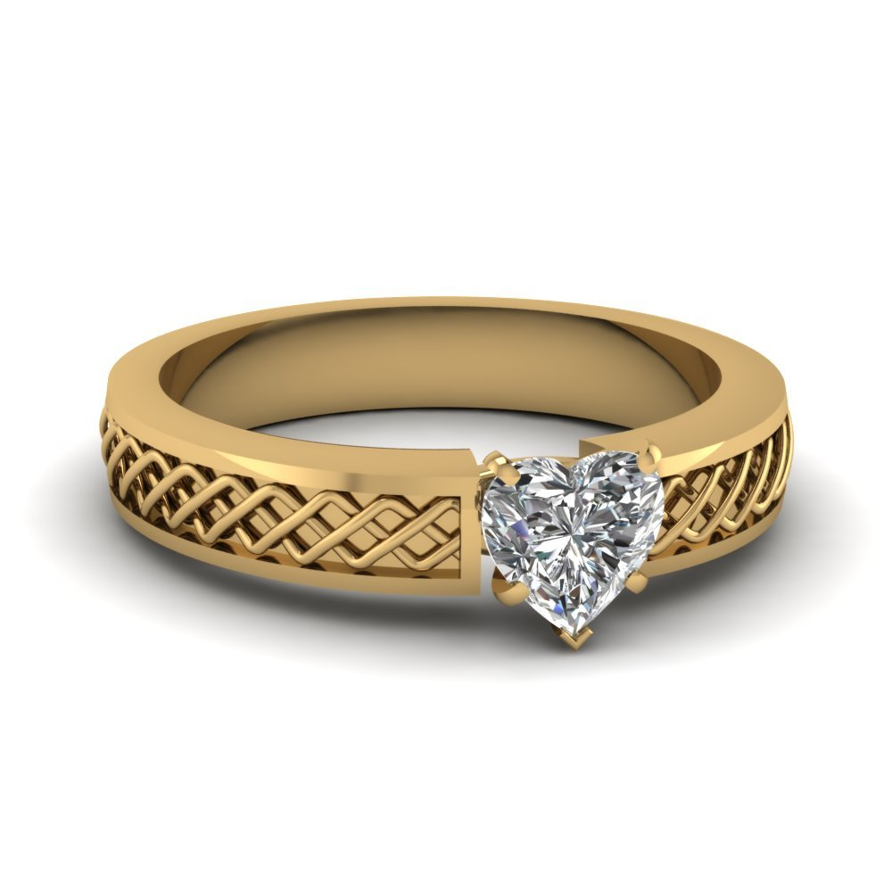 Criss Cross Heart Shaped Solitaire Engagement Ring In 18K Yellow Gold