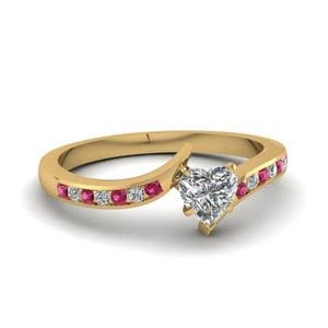 Twist Channel Heart Diamond Engagement Ring With Pink Sapphire In 14K Yellow Gold