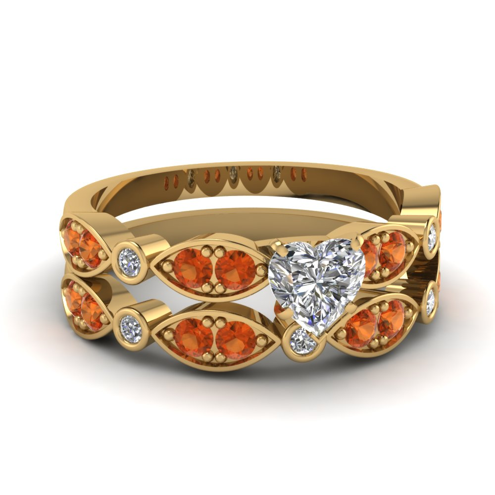 Art Deco Heart Diamond Wedding Ring Set With Orange Sapphire In 14K Yellow Gold