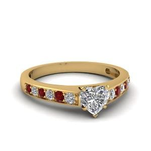 Simple Heart Diamond Ruby Ring