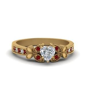Vintage Butterfly Heart Diamond Engagement Ring With Ruby In 18K Yellow Gold