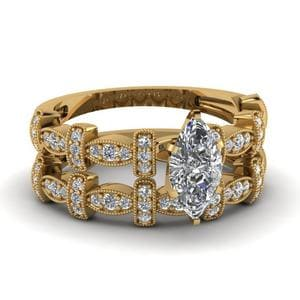 Art Deco Milgrain Pave Marquise Cut Diamond Wedding Set In 18K Yellow Gold