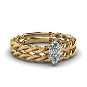 Marquise Twisted Rope Ring Set