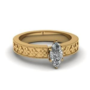 Floral Engraved Marquise Cut Solitaire Engagement Ring In 18K Yellow Gold